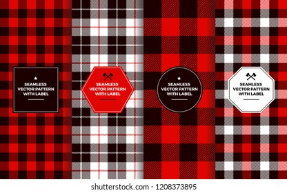 Lumberjack Seamless Patterns with Label Frames. Red Black White Buffalo Check and Tartan Plaid. Trendy Hipster Textures & Badges. Copy Space for Text. Design Templates for Packaging, Covers, Gift Wrap