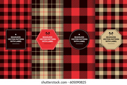 Lumberjack Seamless Patterns with Label Frames.  Red Black Tan Buffalo Check and Tartan Plaid. Trendy Hipster Textures & Badges. Copy Space for Text. Design Templates for Packaging, Covers, Gift Wrap.