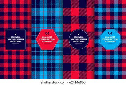Lumberjack Seamless Patterns with Label Frames. Navy Blue & Red Buffalo Check and Tartan Plaid. Trendy Hipster Textures & Badges. Copy Space for Text. Design Templates for Packaging, Covers, Gift Wrap