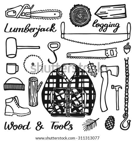 Lumberjack Set Wood Tools Handdrawn Cartoon Stock Vector Royalty