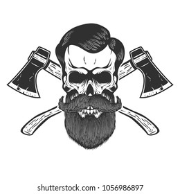 Lumberjack skull with crossed axes. Design element for emblem, sign, poster, t shirt. Vector illustration
