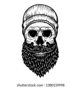 Lumberjack skull in tattoo style isolated on white background. Design element for poster, t shirt, card, emblem, sign, badge. Vector illustration