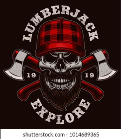Lumberjack skull vector illustration. Shirt design on dark background.