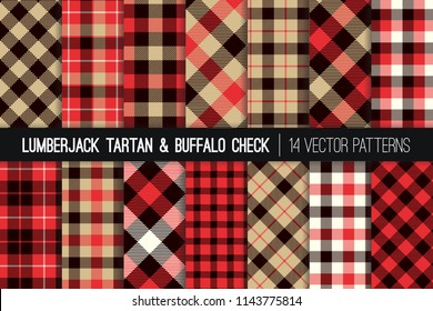 Lumberjack Tartan and Buffalo Check Plaid Vector Patterns. Tan, Red, Black and White Rustic Christmas Backgrounds. Hipster Flannel Shirt Fabric Textures. Pattern Tile Swatches Included.