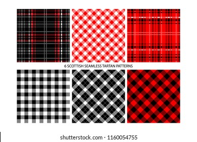 Lumberjack Tartan and Buffalo Check Plaid Patterns in Red. Trendy Hipster Style Backgrounds. Vector EPS File Pattern Swatches made with Global Colors.