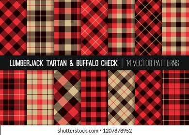 Lumberjack Tartan and Buffalo Check Plaid Vector Patterns. Red, Black and Tan Christmas Backgrounds. Hipster Flannel Shirt Fabric Textures. Repeating Pattern Tile Swatches Included.