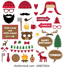Lumberjack vector design elements and photo booth props set