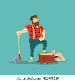 Lumberjack. Vector illustration.
