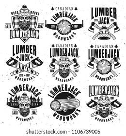 Lumberjack vintage black on white emblems, labels and badges vector illustration
