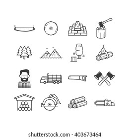 Lumberjack & Woodcutter Icon Set