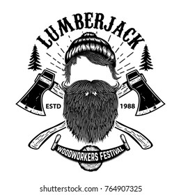 Lumberjack. Woodworkers festival poster template. Design element for emblem, sign, label, poster. Vector illustration