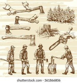 Lumberjacks, cutting wood - hand drawn collection
