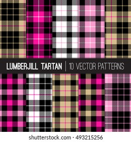 Lumberjill Tartan and Buffalo Check Plaid Patterns in Pink, Hot Pink, Black, White and Camel. Girly Lumberjack Check. Trendy Hipster Backgrounds. Vector File Pattern Swatches made with Global Colors.