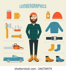 Lumberman Fashion Trend Infographics Elements