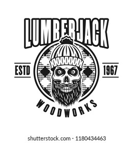 Lumberman skull with beard and circle vector emblem in vintage monochrome style isolated on white background