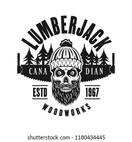 Lumberman skull with beard and two hand saw vector emblem in vintage monochrome style isolated on white background