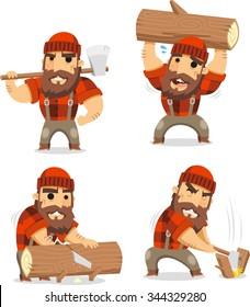lumberman working in the logging industry vector cartoon set 1