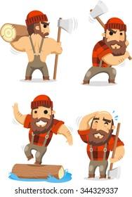 lumberman working in the logging industry vector cartoon set 2