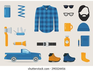 Lumbersexual Style Clothing, Tools and Accessories Vector Set