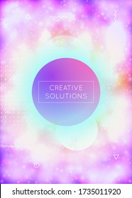 Luminous background with liquid neon shapes. Purple fluid. Fluorescent cover with bauhaus gradient. Graphic template for brochure, banner, wallpaper, mobile screen. Bright luminous background.