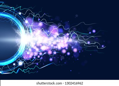 Luminous electric circle lightning atmospheric phenomenon realistic image on dark night sky blue decorative background vector illustration. Party poster or flyer abstract high voltage layout