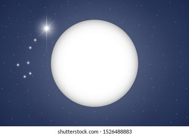 A luminous large full moon and a polar star with the constellation Ursa Minor in a clear dark blue sky with starry sky