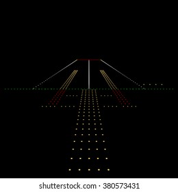 Luminous night landing lights Airport. Vector illustration.