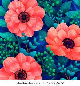 Screensavers images stock photos vectors shutterstock luminous tropical background with 3d style wild coral flowers beautiful anemones and leaves on blue m4hsunfo