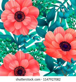 Screensaver images stock photos vectors shutterstock luminous tropical background with 3d style wild coral flowers beautiful anemones and leaves on white m4hsunfo