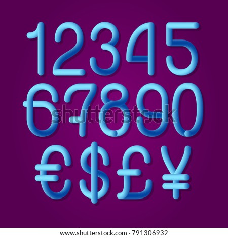 Luminous Tubular Numbers Currency Signs American Stock Vector
