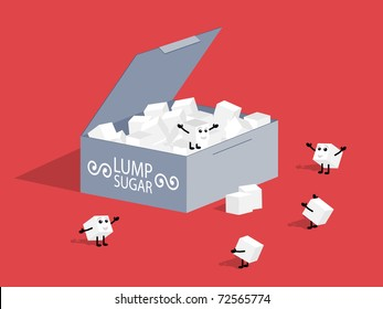 Lump sugar. Vector illustration.
