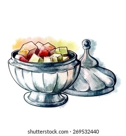Lumps of Lokum or Turkish Delight  in a shiny silver vase. Traced watercolor sketch with and line drawing in a separate layers isolated on white background. EPS10 vector illustration.