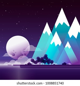 Lunar landscape with mountains and forest on the shore of the lake. Starlight Night. Illustration with transparencies and gradients.