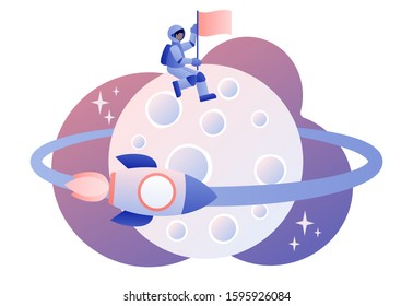 Lunar mission space exploration. Tiny astronauts in space. Spaceship travel to moon. Rocket flying around Moon orbit. Modern flat cartoon style. Vector illustration
