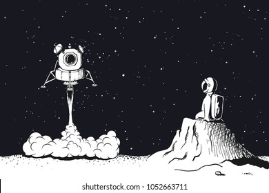 Lunar module launch,landing on Moon.Astronaut observes him, sitting on the lunar surface .Space vector illustration