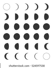 Lunar Moon Phases Icons Grunge