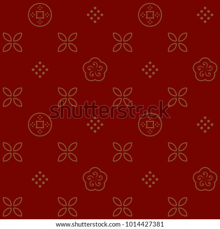 lunar new year background gold flowers coins dot squares regular seamless pattern