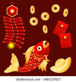 Lunar New Year fish. Coin, money, red wallets, petards. New Year concept. Realistic vector illustration can be used for topics like Chinese symbols, prosperity, wealth