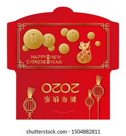 Lunar New Year Money Red Packet Ang Pau Design. Year of the rat with many gold coins. Chinese Hieroglyph Translation- Happy New Year. Golden mouse in flowers. Ready for print, Die-cut on other layer