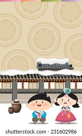Lunar New Year's Day and children in Korean traditional clothes D