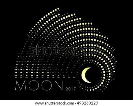 Lunar Phase Calendar White On Dark Stock Vector Royalty Free