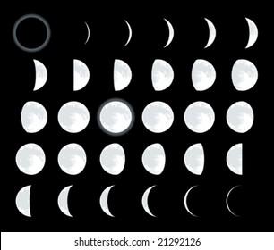 Lunar phases. CMYK mode. Global colors. Easy color changes.