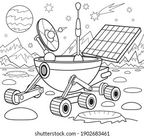 Lunar rover coloring book for children