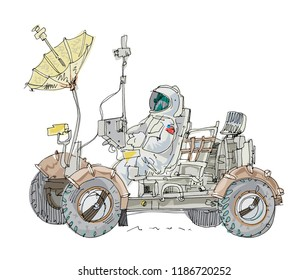 A lunar rover or Moon rover space exploration vehicle. Space electromobile with astronaut on board. Cartoon. Caricature.