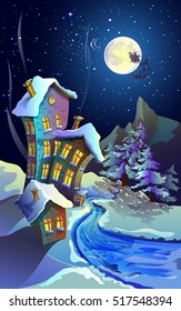Lunar, starry, Christmas night. Spruce covered with snow. House with snow-covered roofs and shining Windows. Road. Santa Claus is passing by in his sleigh.