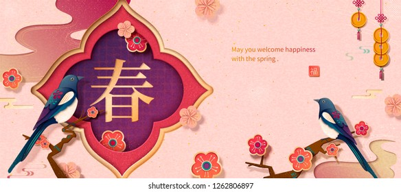 Lunar year banner with elegant swallow sitting on tree, Spring and fortune written in Chinese characters