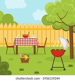 Lunch in the backyard. Barbecue in the garden. Outside dinner in a countryside house. Vector illustration.