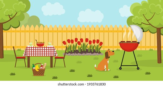 Lunch in the backyard with trees and flowerbed. Barbecue in the garden with dog. Outside dinner in a summer house. Vector illustration. Banner.