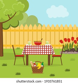 Lunch in the backyard with trees and flowerbed. Dinner in the garden. Outside meal in a countryside house. Vector illustration.