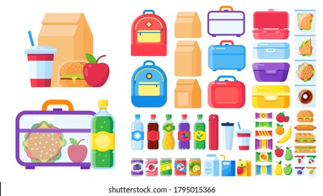 Lunch box constructor. Food for lunchbox isolated, pack snack for children, mea and vegetable. Vector illustration